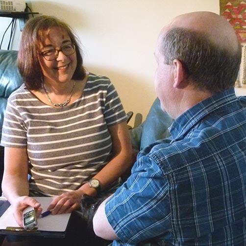 joss carpreau interviewing a client for their life story memoir
